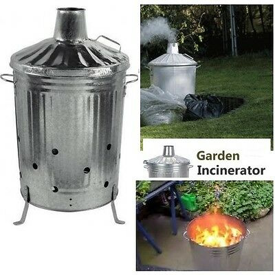 Large Garden Incinerator Fire Burning Galvanised Bin 90L Rubbish Wood Leaves