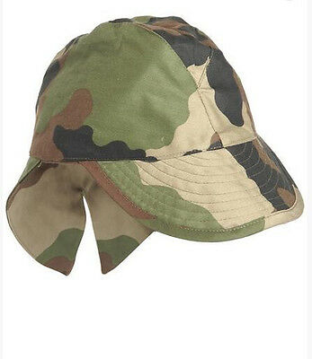 French Army Bigeard CCE Camo Cap OM Field military swallowtail w/neck flap hat