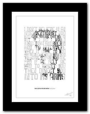 NICK CAVE Into My Arms ❤  song lyrics typography poster art print #60