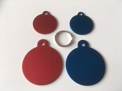 Engraved Cat/Dog / Pet ID NAME tags SMALL / LARGE / RED / BLUE DISC + split ring