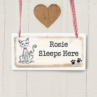 Personalised CAT Wooden Hanging Sign - Add Name and Message
