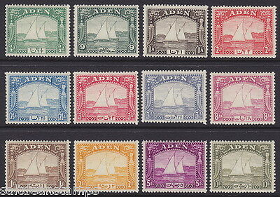 """ADEN - 1937 ½a to 10r """"Dhows"""" (12v) - MM / MH"""