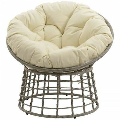 Decoris Garden Patio Outdoor Taupe Round Wicker Weave Chair with Cushion
