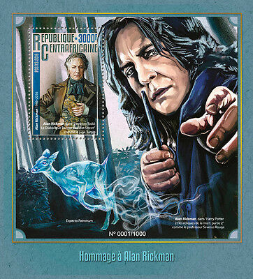 Cent African Rep 2016 MNH Alan Rickman 1v S/S Severus Snape Harry Potter Stamps