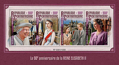 Cent African Rep 2016 MNH Queen Elizabeth II 90th Birthday 4v M/S Royalty Stamps