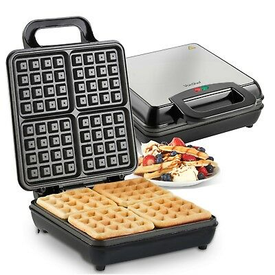 VonShef Quad Belgian Waffle Maker Iron in Stainless Steel Machine Non-Stick