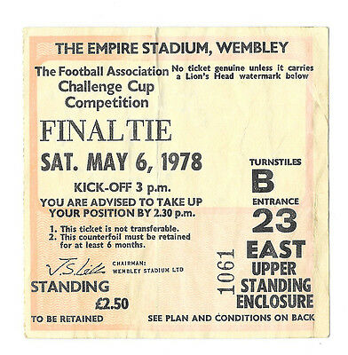 1978 - Arsenal v Ipswich Town, FA Cup Final Match Ticket.