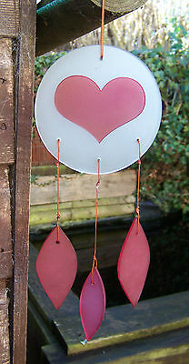 Fair Trade Hand Made Glass Pink Love Heart Valentine Windchime Wind Chime Mobile