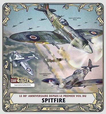 Niger 2016 MNH Spitfire First Flight 80th Anniv 1v S/S Aviation Airplanes Stamps