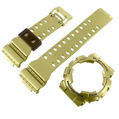 Metallic Gold Tone Bezel Band For G-Shock Watch GA110GD-9A Resin Silicone Strap