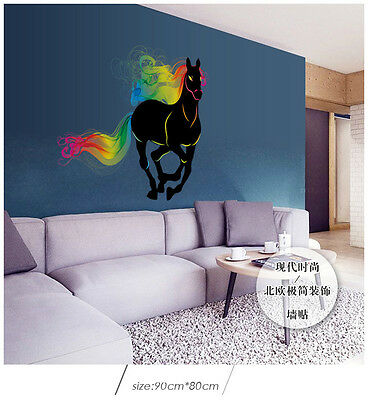 Wall Sticker Colorful Running Horse Removable Vinyl Decal Art Mural Home Decor