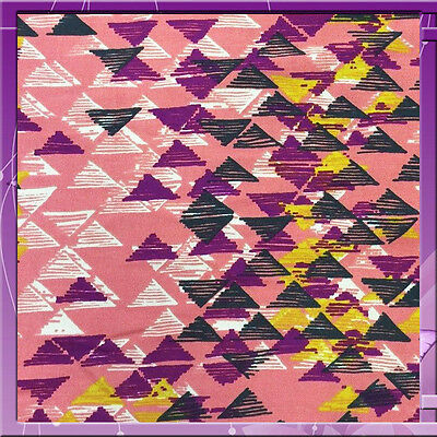 """100% Rayon Challis Multicolor Geometric Triangle 58"""" W Dusty Rose Pink Sold Bty"""