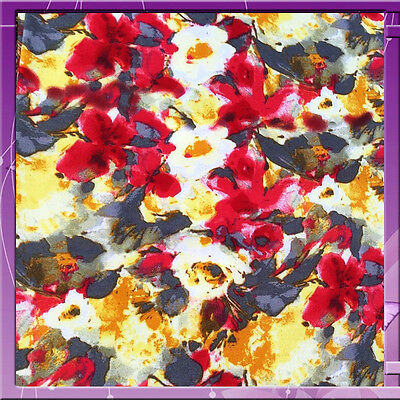 100% Rayon challis Off white w distorted red flowers and hues of grey