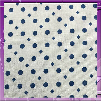 """100% Rayon Challis. Blue Polka Dots Off White Background 60"""" Wide By The Yard"""