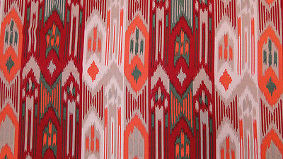 100% Rayon Red w Native American Inspired Print fabric by the yard