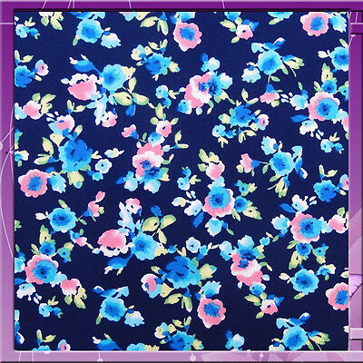 100% Rayon Challis Blue Background & Floral Print Fabric Sold By The Yard