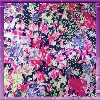 100% Rayon Challis Distorted Flowers Blue, Fuchsia, Green And White Hues Fabric