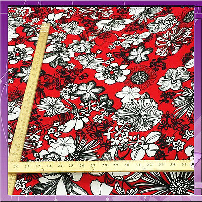 """100% Rayon Challis Hawaiian Print Red And Black 60 """"wide Fabric Sold By The Yard"""