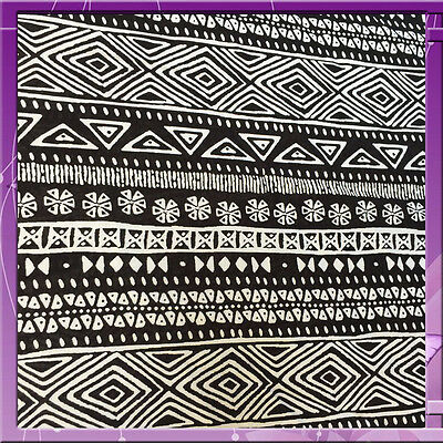 100% Rayon Challis Aboriginal Inspired Off White And Black Fabric By The Yard