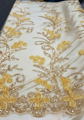 """60""""w Lace w gold embroidery. Fabric by the yard"""