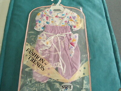 "Herbert Stolle Floral Pants & Shirt w Hearts NEW in Garment Bag NEW for 20"" Doll"