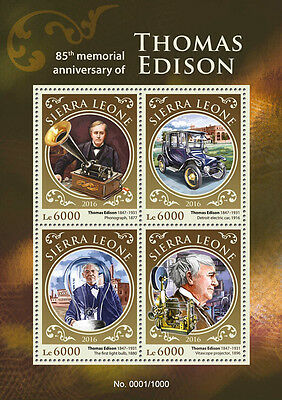 Sierra Leone 2016 MNH Thomas Edison 85th Memorial 4v MS Science Invention Stamps
