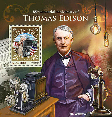 Sierra Leone 2016 MNH Thomas Edison 85th Memorial 1v SS Science Invention Stamps