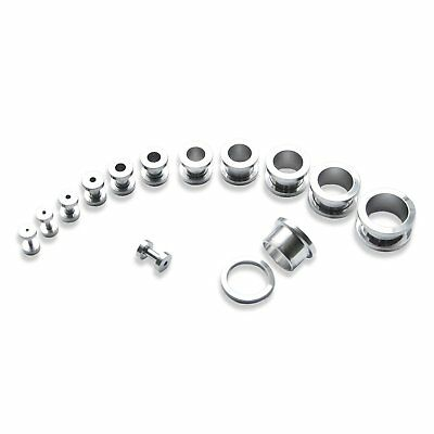 Pair of Surgical Steel Threaded Ear Tunnels Black or Stainless Steel 1.6-16mm
