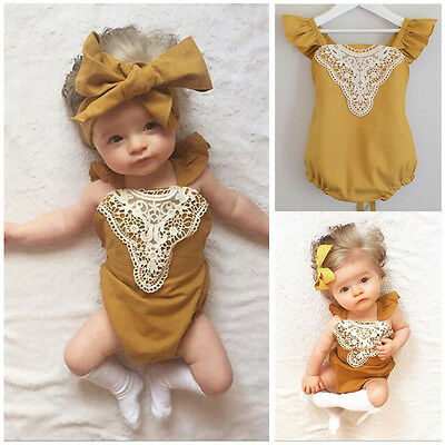 Kids Baby Girl Ginger Romper Bodysuit Jumpsuit Lace Sunsuit Outfits Ruffles UK