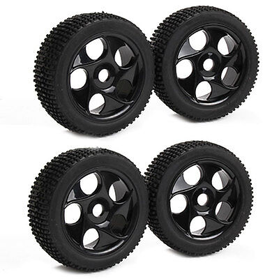 4x High Grip Square Rubber Tyre&Plastic 5 Holes Wheel Rim for RC1:8 Off Road Car