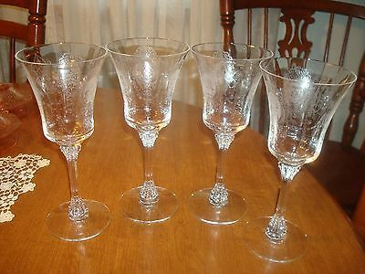 4 Minuet etch 9 oz Water Goblets #5010 by Heisey1939-56