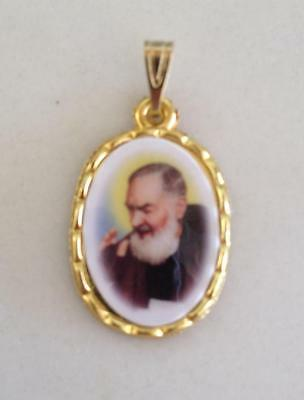St Padre Pio Medal Charm Gold