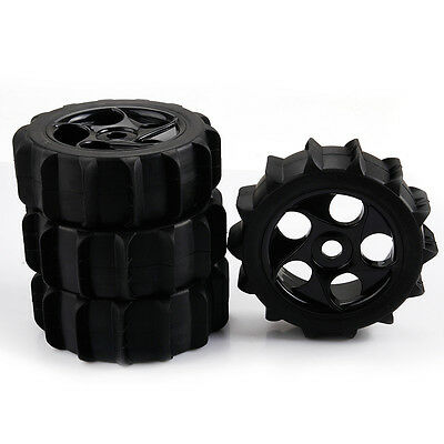 4x Beach Rubber Tire & Plastic 5 Holes Wheel Rim 17mm Hex for RC1:8 Off Road Car