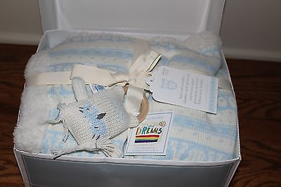 NWT Pottery Barn Kids Knit Owl stroller blanket & baby rattle blue sherpa lined