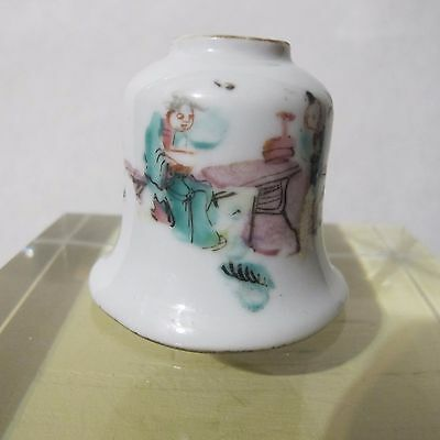 """Oriental Chinese Asian Famille Rose Brush Washer Pot Vase Stramped  """"as is"""" NR"""