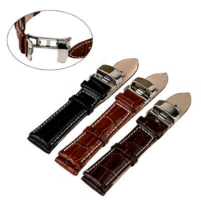 Genuine Butterfly Deployant Clasp Buckle+ Leather Watch Band Strap 18mm-24mm
