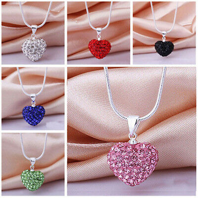 women Crystal Heart beaded Silver Plated Necklace Fashion Jewelry Pendant Chain