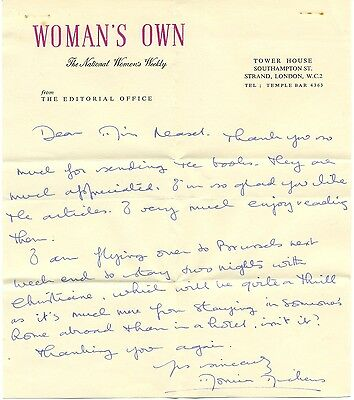 Monica Dickens handwritten letter signed autograph 1940s English author Charles