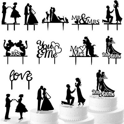 MR&MRS Bride Groom Couple Silhouette Wedding Cake Topper Decoration Party Favor