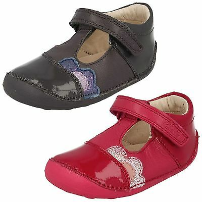 Girls Kids Clarks Little Caz Hook & Loop Casual T Bar Cruisers First Shoes Size