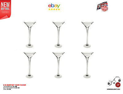"6 x 70cm 27.56""  Martini Glass Vase Table Centrepiece Wedding Decorations"