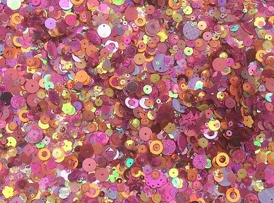 Pink / Gold Metallic Sequins Mixed Size & Shape 80G 3000+ Pack - Sewing - Sc112