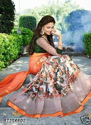 Saree Party Wear Indian Ethnic Pakistani Designer Sari Orange Green 172S6606
