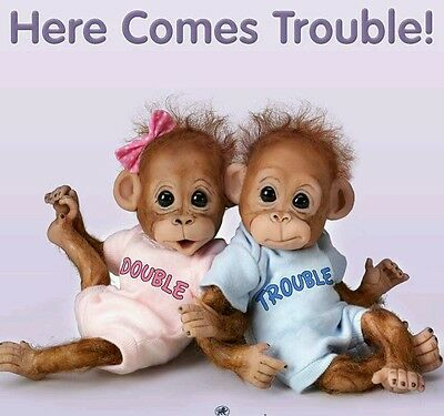 Ashton Drake Double Trouble Baby Orangutan Poseable Monkeys