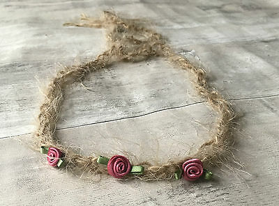 Rustic Rose Flower Tie Back headband Newborn Baby Onwards Photo Photography prop