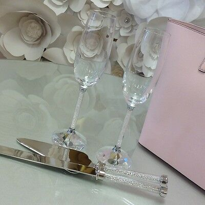 4 Piece Wedding Toasting Glasses Cake Server/Champagne Flutes Crystal Beads Set