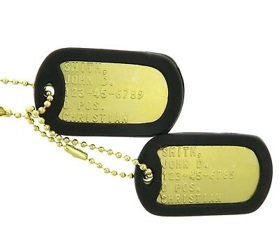 Custom Embossed Military Brass Army Navy USMC AF ID Dog Tags Set