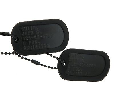 Custom Embossed Black Special Forces Military Army Ranger Navy Seals ID Dog Tags