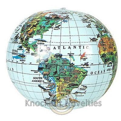 """16"""" Inflatable Globe World Earth Planet Map Large Big Blow Up Air"""