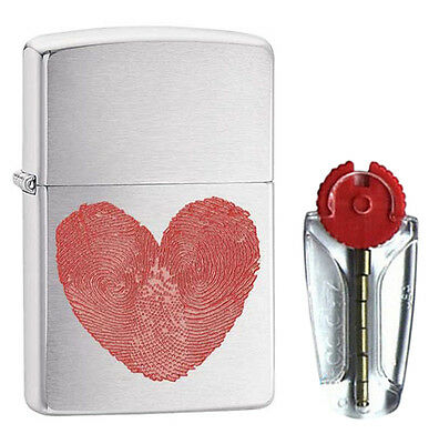Heart Thumbprints Zippo Lighter in Brushed Chrome 29068 - FREE FLINTS & FREE P&P